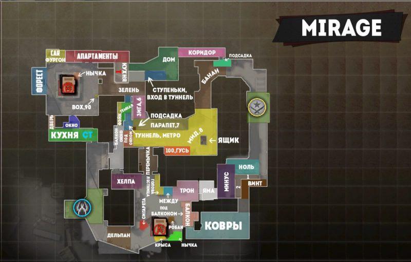 Карта Мираж КС ГО места и обозначения