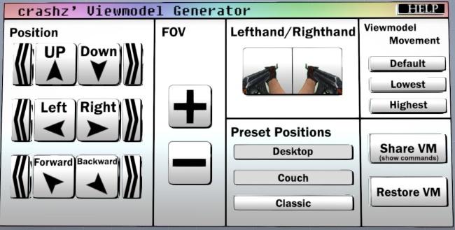 Кнопки карты для настройки рук в КС ГО